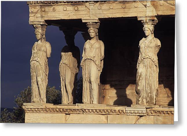 Ancient Ruins Greeting Cards - Caryatides at the Acropolis Greeting Card by Cliff Wassmann