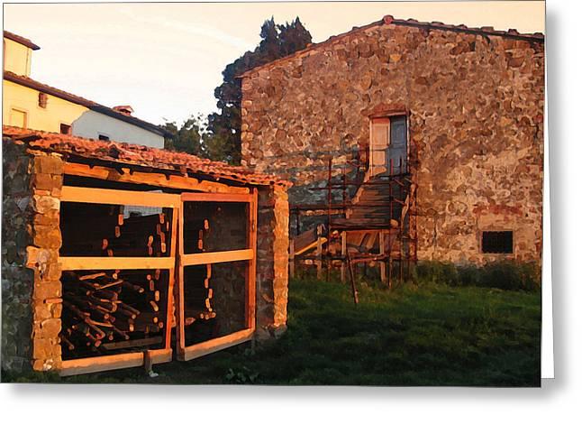 Italian Sunset Mixed Media Greeting Cards - Casa Bella Sunset Greeting Card by Paul Barlo