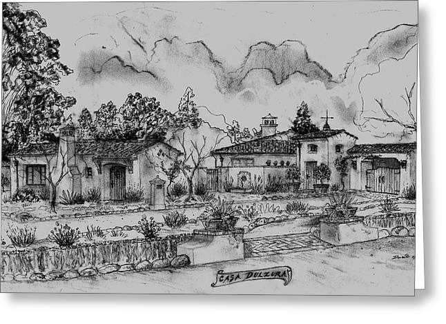 Mediterranean Landscape Drawings Greeting Cards - Casa Dulzura of Montecito Greeting Card by Jeff Doubet