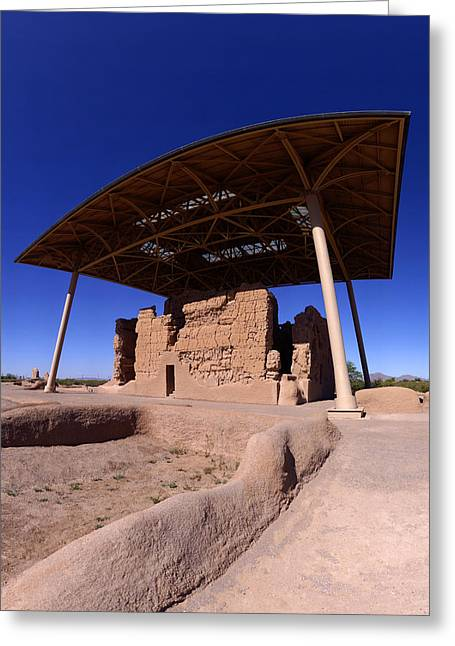 Adobe Greeting Cards - Casa Grande Ruins from northeast Greeting Card by Brian Lockett