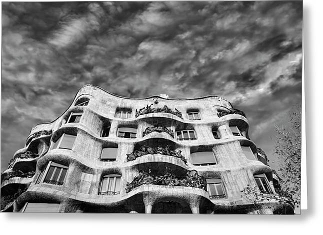 Undulating Greeting Cards - Casa Mila - Barcelona Greeting Card by Rod McLean