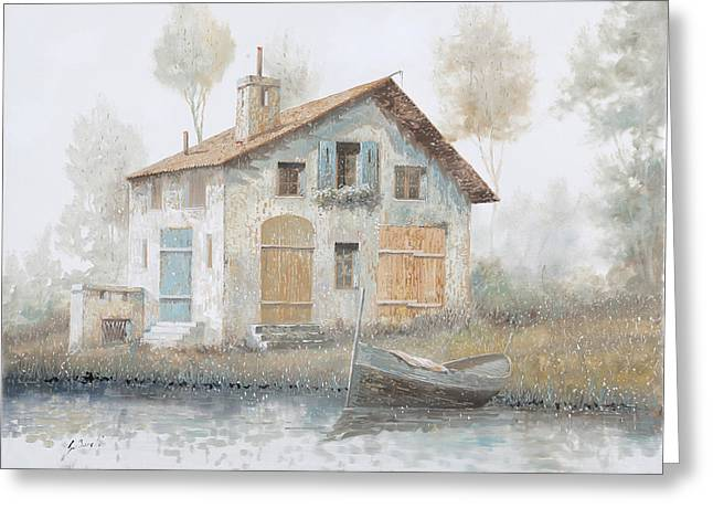 Fog Paintings Greeting Cards - Casa Pallida Nella Nebbia Greeting Card by Guido Borelli