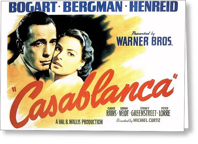 Motion Picture Poster Greeting Cards - Casablanca Greeting Card by Movie Poster Prints