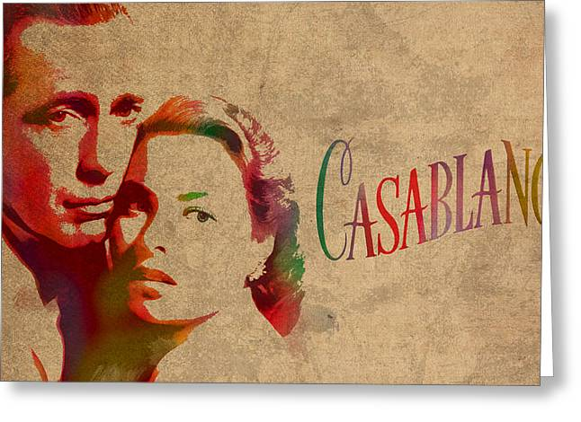 Casablanca Greeting Cards - Casablanca Watercolor Painting Humphrey Bogart Ingrid Bergman on Worn Distressed Canvas Greeting Card by Design Turnpike