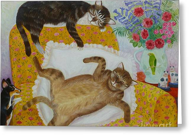 Pottery Pitcher Paintings Greeting Cards - CASANOVA and PRINCE Greeting Card by Colette Raker