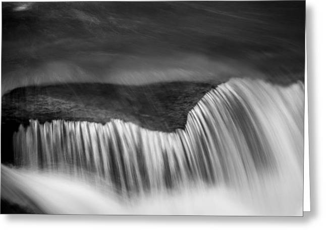 Blue And Green Greeting Cards - Cascade - Black and White Greeting Card by Stephen Stookey