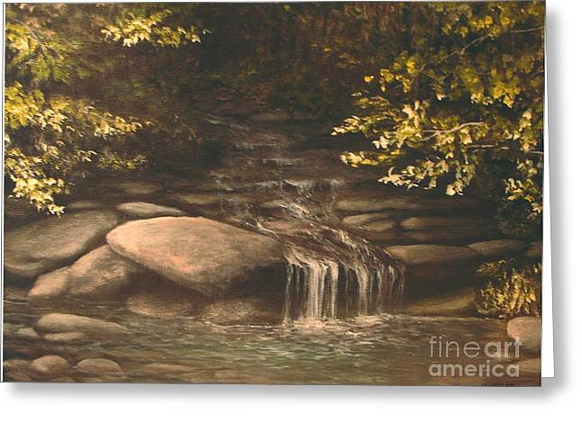 Fishing In Stream Print Greeting Cards - Cascade Greeting Card by Penny Neimiller