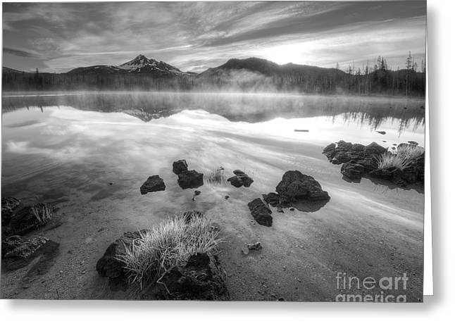 Cascades In Black And White Greeting Card by Twenty Two North Photography