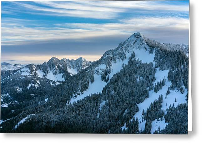 Cascades Mountain Range Closeup Greeting Card by Mike Reid