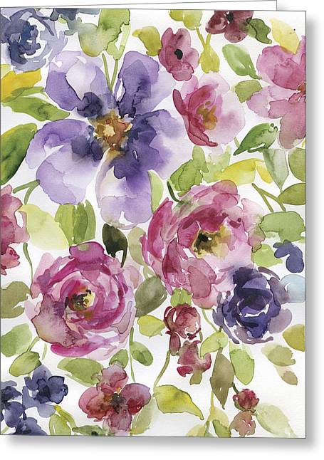 Splashy Paintings Greeting Cards - Cascading Flowers 2 Greeting Card by Carol Robinson