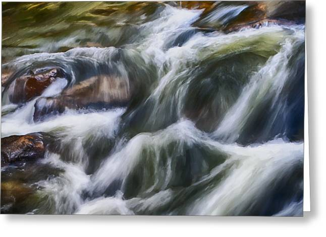 White Digital Art Greeting Cards - Cascading River Greeting Card by David Millenheft