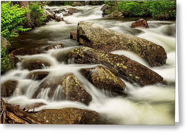 Beauty Creek Greeting Cards - Cascading Water and Rocky Mountain Rocks Greeting Card by James BO  Insogna