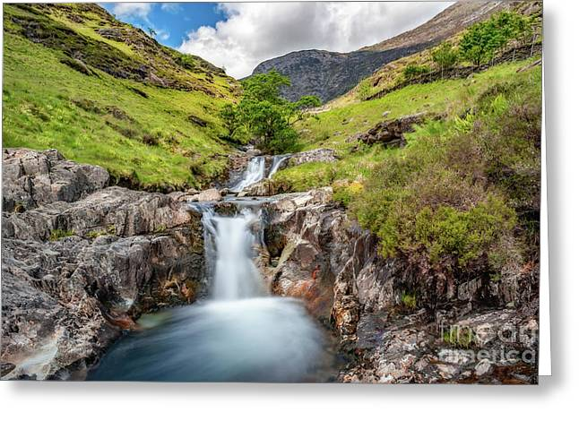 Cascading Waterfall Greeting Card by Adrian Evans