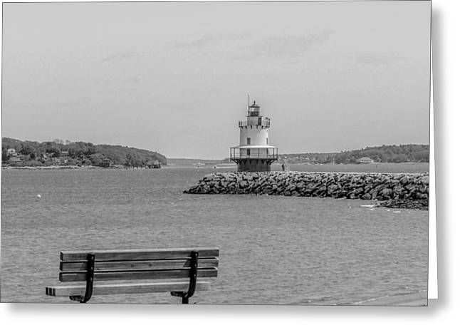 Maine Spring Greeting Cards - Casco Bay and the Lighthouse Greeting Card by Victory  Designs