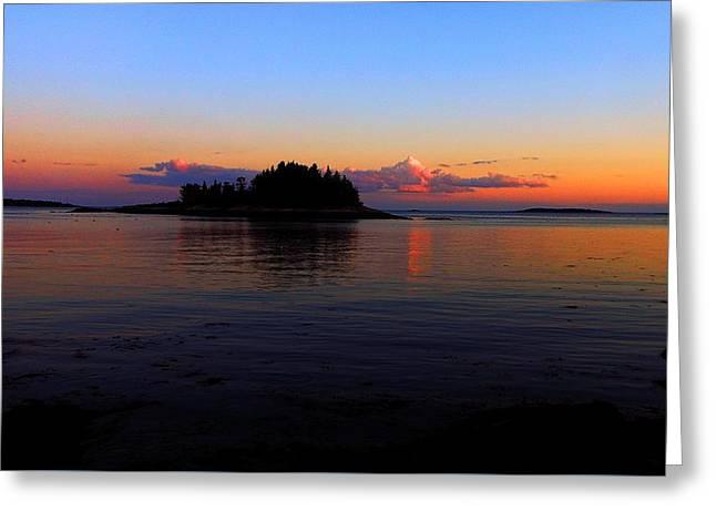 Coastal Maine Greeting Cards - Casco Bay Sunset Greeting Card by Maxine LaCombe