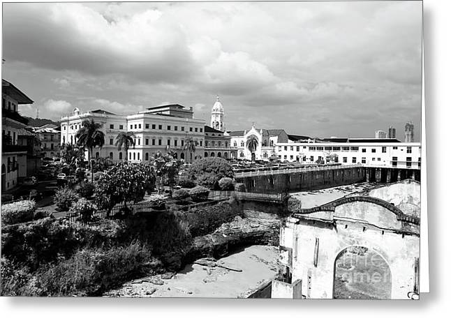 Casco Viejo In Black And White Greeting Card by John Rizzuto