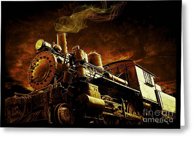 Boiler Greeting Cards - Casey Jones and the Cannonball Express Greeting Card by Edward Fielding