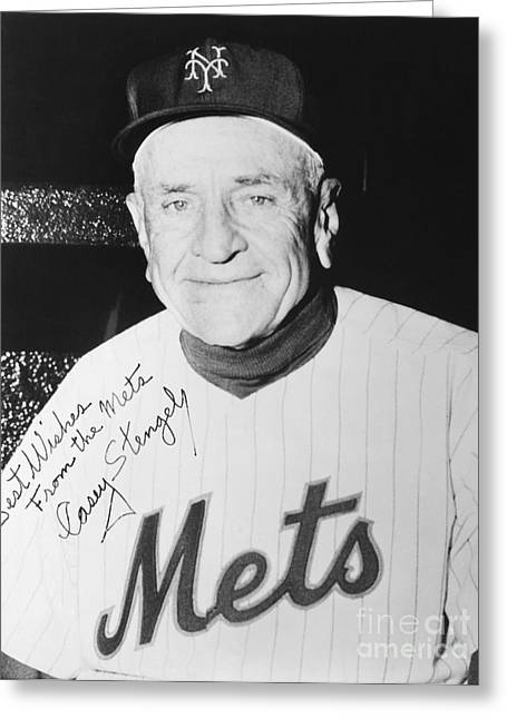 Autographed Greeting Cards - Casey Stengel (1890-1975) Greeting Card by Granger
