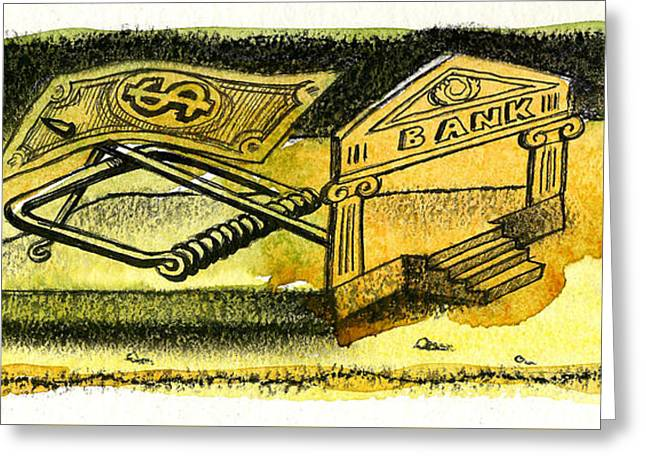 Cash Catch Greeting Card by Leon Zernitsky