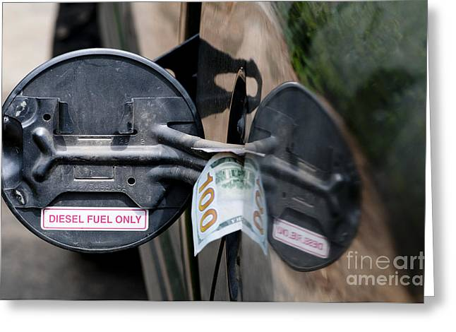 Expense Greeting Cards - Cash In Truck Fuel Tank Fill Spout Greeting Card by William H. Mullins