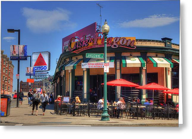 Flagon Greeting Cards - Caskn Flagon and the CITGO Sign - Boston Greeting Card by Joann Vitali