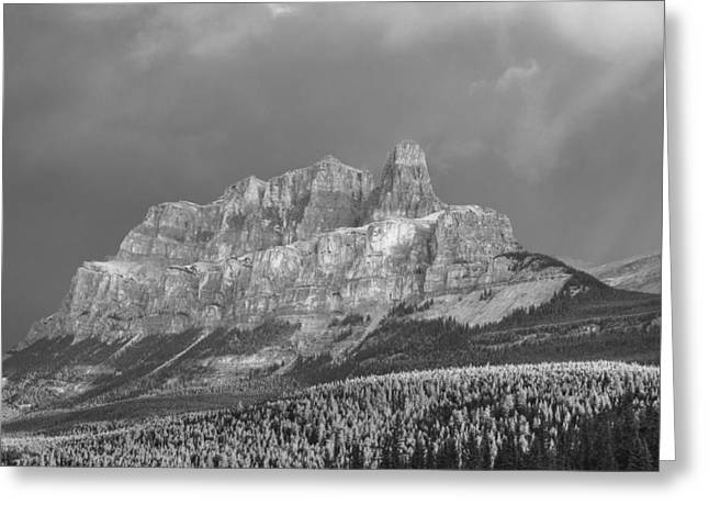 Winter Storm Greeting Cards - Castle Mountain  Greeting Card by Yves Gagnon