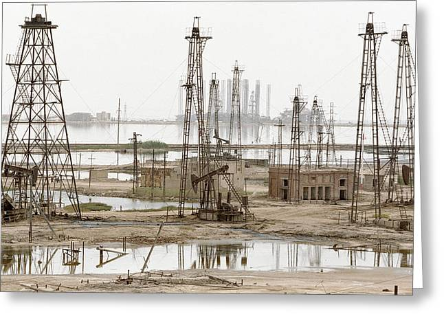 21st Greeting Cards - Caspian Sea Oil Rigs Greeting Card by Ria Novosti