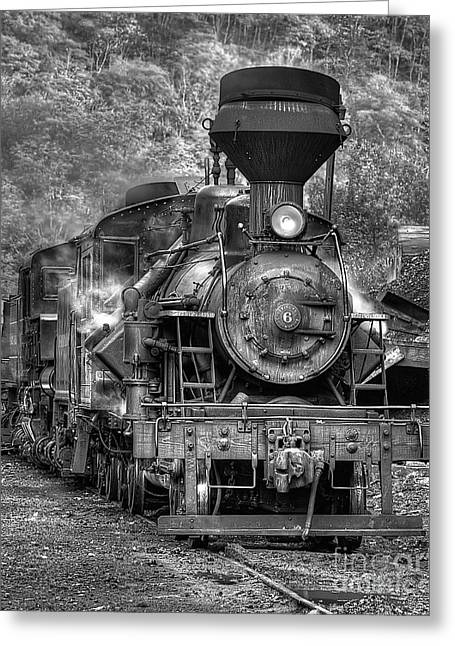 Antique Ironwork Greeting Cards - Cass Railroad Engine No 6 bw Greeting Card by Jerry Fornarotto