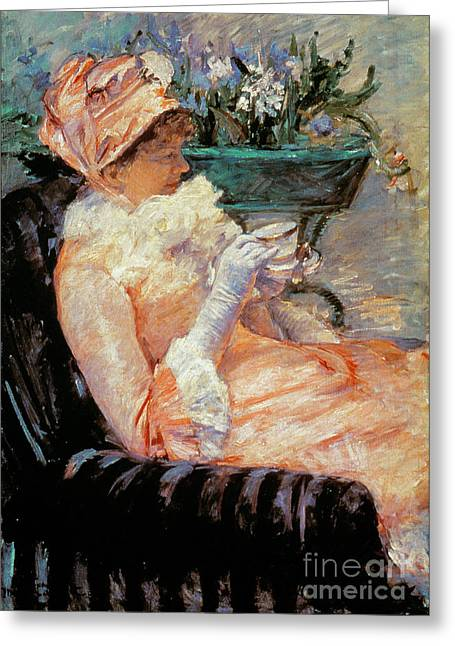 Cassatt Greeting Cards - Cassatt: Cup Of Tea, 1879 Greeting Card by Granger