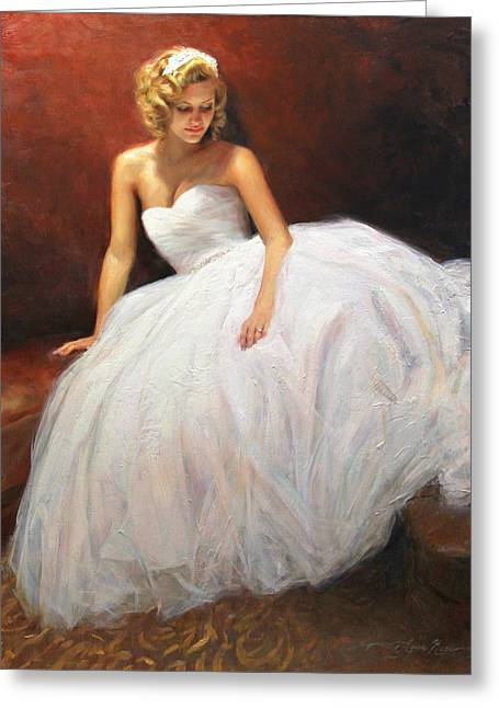 Bridal Gown Greeting Cards - Cassie on Her Wedding Day Greeting Card by Anna Rose Bain