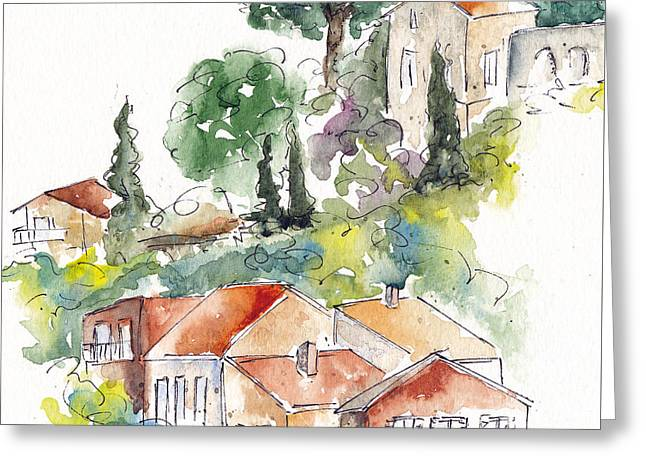 Provence Village Greeting Cards - Cassis Hillside Greeting Card by Pat Katz
