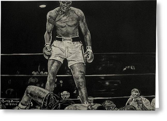 Announcer Greeting Cards - Cassius Clay and Sonny Liston Greeting Card by Cynthia Farmer