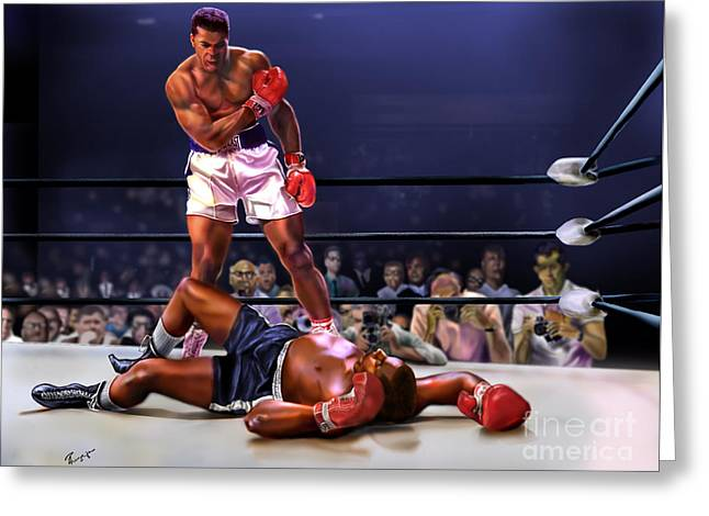 Cassius Clay Vs Sonny Liston Greeting Card by Reggie Duffie