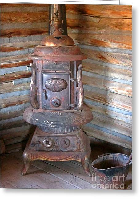 Cast Iron Stove Of The Old West Greeting Card by John Malone
