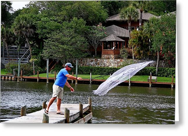 Throwing Food Greeting Cards - Cast Net Fishing Greeting Card by Ira Runyan