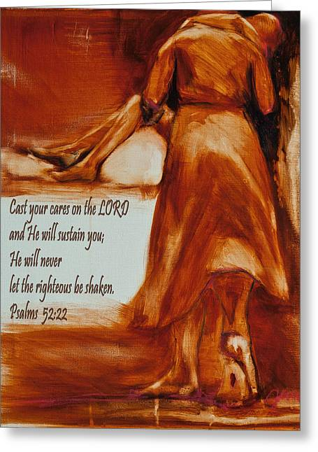 He Walks With Me Greeting Cards - Cast Your Cares On The Lord - Psalm 52 22 Greeting Card by Jani Freimann