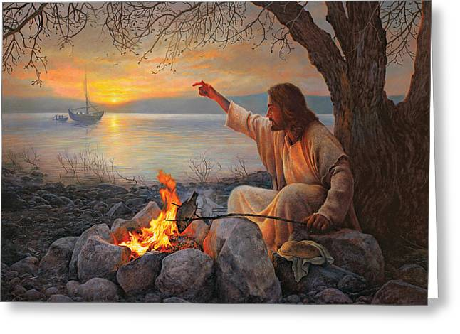 Jesus Christ Paintings Greeting Cards - Cast Your Nets on the Right Side Greeting Card by Greg Olsen