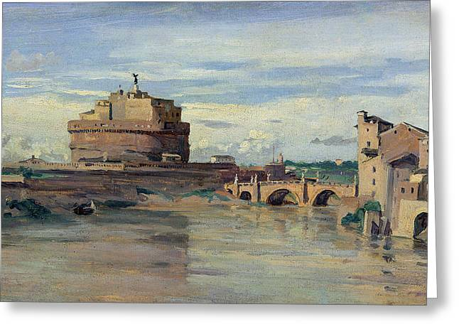 Castel Greeting Cards - Castel Sant Angelo and the River Tiber Greeting Card by Jean Baptiste Camille Corot
