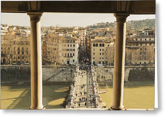 Shoreline Old Men Greeting Cards - Castel Sant Angelo, Bridge Sant Angleo Greeting Card by Mats Silvan