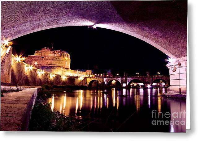Night Angel Greeting Cards - Castel SantAngelo - Castle Of The Holy Angel Greeting Card by DJ MacIsaac