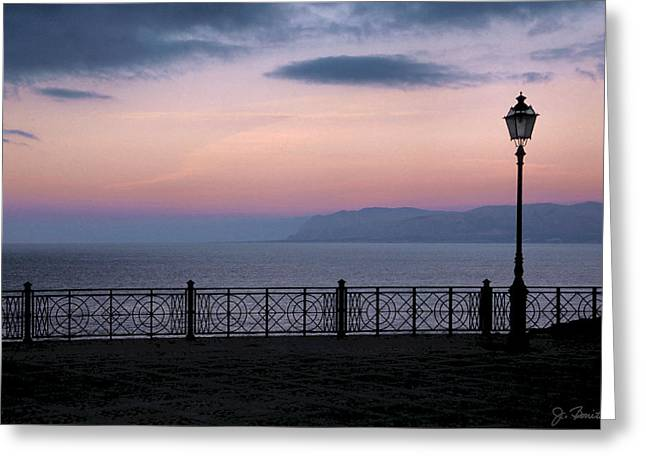 Sicily Greeting Cards - Castellammare Dusk Greeting Card by Joe Bonita