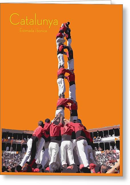 Castellers De Catalunya Greeting Card by Joaquin Abella