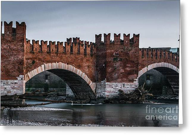 Famous Bridge Greeting Cards - Castelvecchio - Verona - Italy Greeting Card by Michela Negri