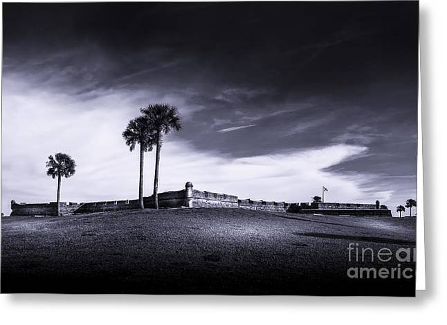 Castillo De San Marcos-b/w Greeting Card by Marvin Spates