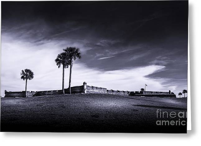Spring Scenes Greeting Cards - Castillo de San Marcos-b/w Greeting Card by Marvin Spates