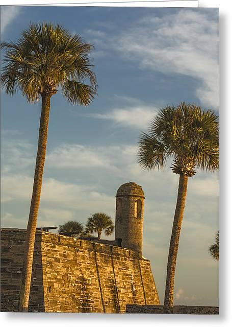 Bastion Greeting Card featuring the photograph Castillo De San Marcos Dawn II by Joan Carroll