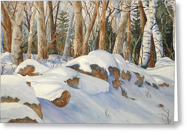 Drifting Snow Paintings Greeting Cards - Casting Shadows Greeting Card by Daydre Hamilton