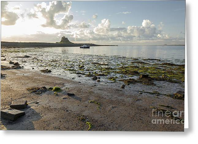 Sand Castles Greeting Cards - Castle across the bay. Lindisfarne. Greeting Card by John Cox