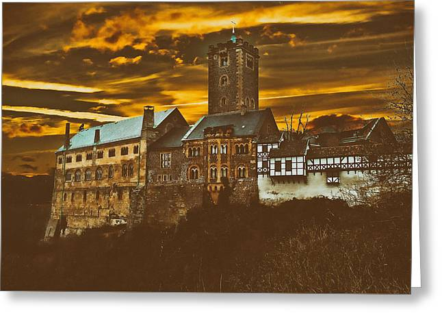 Analog Greeting Cards - Castle At Dusk Greeting Card by Klausdie