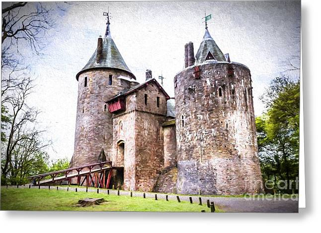 Gothic Bridge Photographs Digital Greeting Cards - Castle Coch in Wales Greeting Card by James Matthews